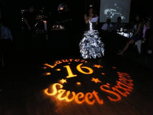 Let Metro Mass Entertaiment personalize your dance floor with a custom gobo monogram.
