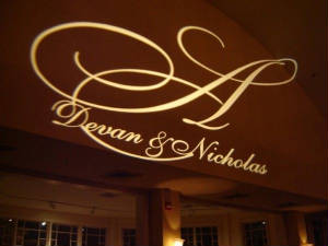 Metro Mass Entertainment can personalize the room by adding a wedding monogram to a wall or dance floor.